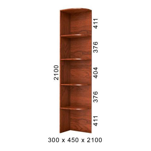 Стеллаж угловой приставка к шкафу-купе 30х45х210 БМФ