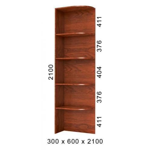 Стеллаж угловой приставка к шкафу-купе 30х45х240 БМФ