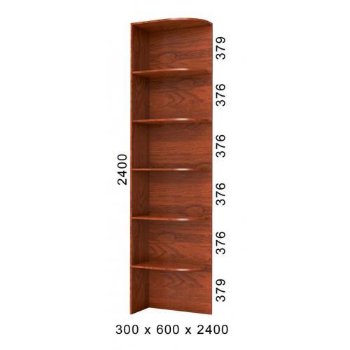 Стеллаж угловой приставка к шкафу-купе 30х60х240 БМФ