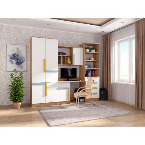 Детская стенка со шкафом и столом Радуга