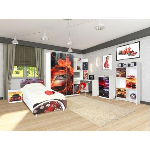 Детская стенка с кроватью, шкафом и столом Гонки (Мульти) Мир Мебели