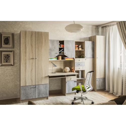 Детская стенка с столом Юниор дуб сонома/бетон Мир мебели