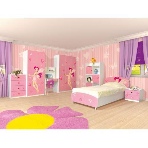 Детская стенка с кроватью, шкафом и столом Фея (Мульти) Мир Мебели